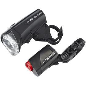 Trelock LS350 I-GO Sport + LS710 REEGO Zestaw oświetlenia zestaw oświetlenia czarny